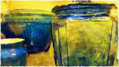 Large Format Mixed Media - Blue And Yellow Glassware by Bonnie Bruno