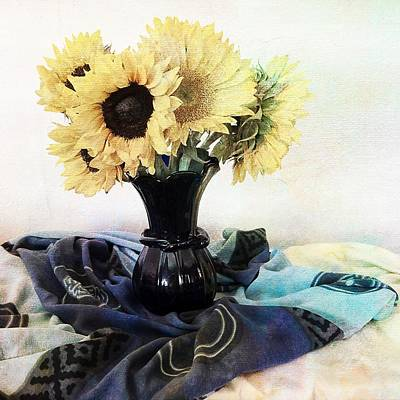 Photograph - Sun Flowers In A Blue Vase by Sandra Selle Rodriguez