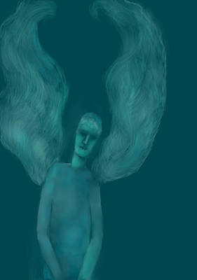 Angel Blues Drawing - Blue Angel by Andreja Hotko Pavic