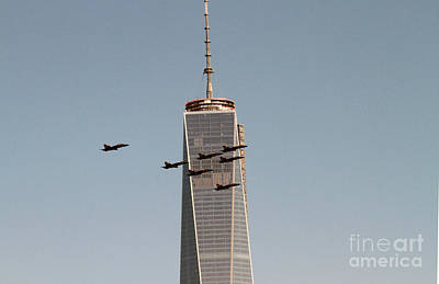 Photograph - Blue Angel Fly-over Wtc by Steven Spak