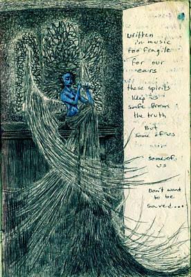 Angel Blues Drawing - Blue Angel by Kd Neeley