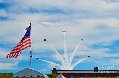 Photograph - Blue Angels Bomb Burst In Air Over Fort Mchenry 3 Of 5 by Jeff at JSJ Photography