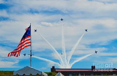 Photograph - Blue Angels Bomb Burst In Air Over Fort Mchenry 4 Of 5 by Jeff at JSJ Photography
