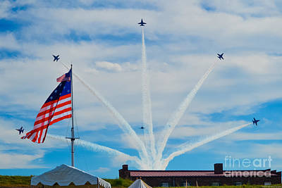 Photograph - Blue Angels Bomb Burst In Air Over Fort Mchenry Finale by Jeff at JSJ Photography
