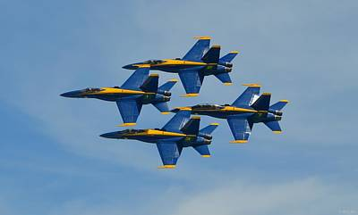 Print featuring the photograph Blue Angels Diamond Formation Over Pensacola Beach by Jeff at JSJ Photography