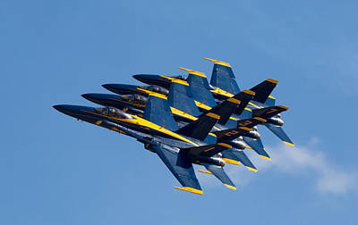 Formation Flying Photograph - Blue Angels Echelon by John Daly