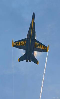 Print featuring the photograph Blue Angels Ghost Appears Over Pensacola Beach by Jeff at JSJ Photography