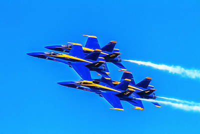 Flight Formation Photograph - Blue Angels Glow by Bill Gallagher