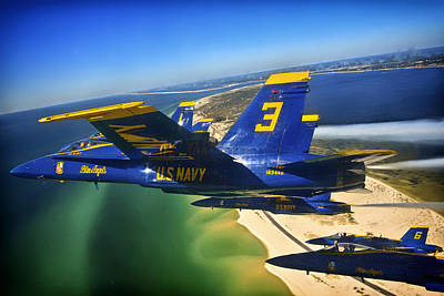 Flight Formation Photograph - Blue Angels Over The Florida Coastline by Mountain Dreams