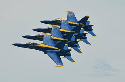 Print featuring the photograph Blue Angels Practice Echelon Formation by Jeff at JSJ Photography