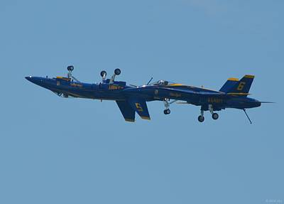 Print featuring the photograph Blue Angels Practice Up And Down With Low And Slow by Jeff at JSJ Photography