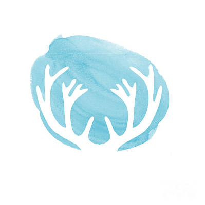 Deer Digital Art - Blue Antlers by Marion De Lauzun