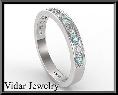 14k Jewelry - Blue Aquamarine And Diamond Half Eternity 14kt White Gold Wedding Ring by Roi Avidar