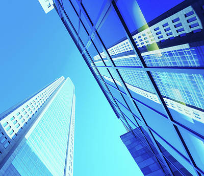 Financial District Photograph - Blue Architecture by Moreiso