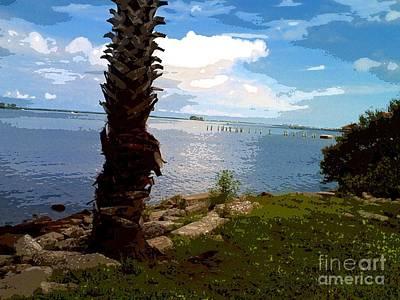 Daytime Mixed Media - Blue Around Tree by Caroline Gilmore
