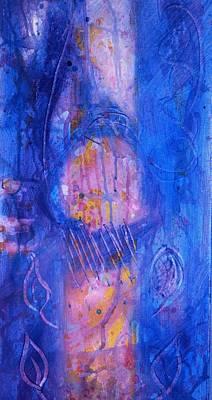 Painting - Blue Autumn Gold Tree Trunk by Phoenix De Vries