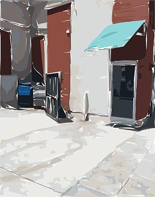 Bay Area Digital Art - Blue Awning by Nolan Schoichet