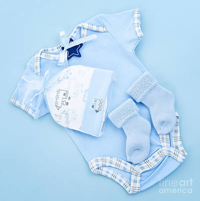 Adorable Photograph - Blue Baby Clothes For Infant Boy by Elena Elisseeva