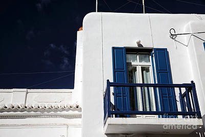 Photograph - Blue Balcony In Mykonos by John Rizzuto