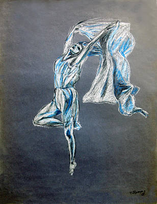 Drawing - Blue Ballerina Dance Art by Tom Conway
