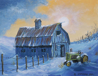 Prairie Sky Art Painting - Blue Barn Number 3 by Jerry McElroy