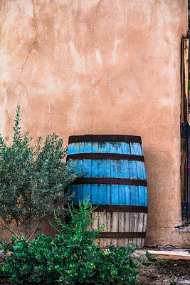 Blue Barrel With Adobe Art Print by Steven Bateson