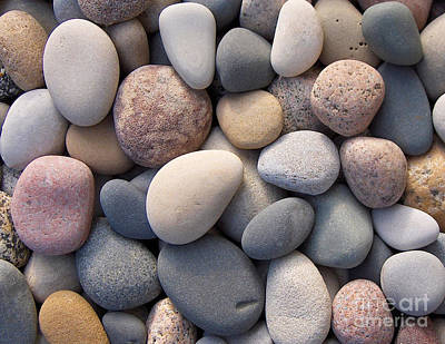Blue Beach Stones Art Print by Kathi Mirto