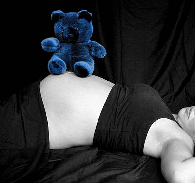 Blue Bear And Baby Belly Art Print by Melissa Kimball