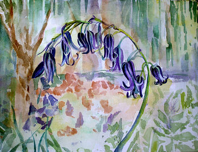 Blue Flowers Drawing - Blue Bells by Mindy Newman
