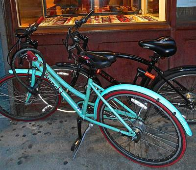 Blue Bianchi Bike Art Print by Joan Reese