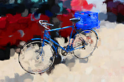 Digital Art - Blue Bicycle by Geoff Strehlow