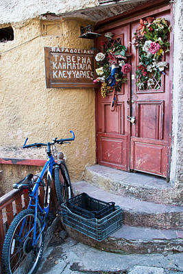 Photograph - Blue Bike At The Taverna by Susan OBrien