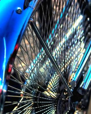 Jerry Sodorff Royalty-Free and Rights-Managed Images - Blue Bike Spokes 28992 by Jerry Sodorff