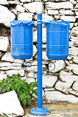 Paper Bag Photograph - Blue Bins by Tom Gowanlock