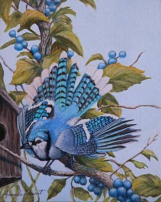 Painting - Blue Bird And Blue Berries by Amanda Hukill