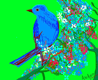Blue Bird And Flowers Art Print by Anand Swaroop Manchiraju