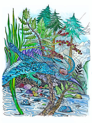 Drawing - Blue Bird Breezin' by Adria Trail