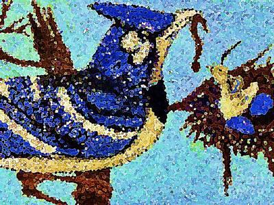 Painting - Blue Bird Feeding Baby Mosaic by Saundra Myles