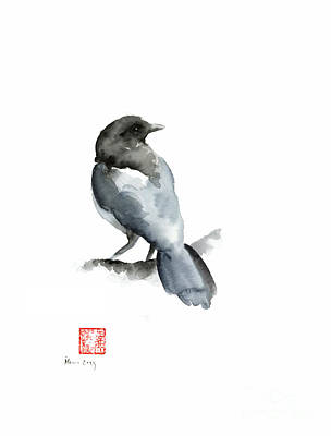 Blue Bird Grey Black Crow Silver Winter Scenery Landscape Watercolor Painting Art Print
