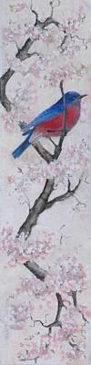 Blue Bird In Cherry Blossoms 2 Art Print by Sandy Clift