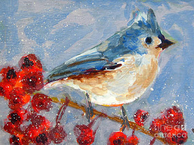Christmas Holiday Scenery Painting - Blue Bird In Winter - Tuft Titmouse Modern Impressionist Art by Patricia Awapara