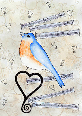 Rosedahl Painting - Blue Bird Of Happiness by Sarah Rosedahl