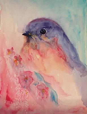 40s Painting - Blue Bird by Paula Lay