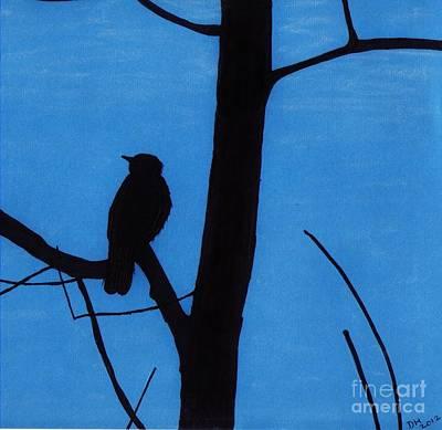 Birds Drawing - Blue - Silhouette - Bird by D Hackett