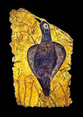 Minoan Painting - Blue Bird by Steve Bogdanoff