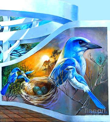 Scrub Jay Painting - Scrub Jay World Bird Wall Mural by Linda Rae Cuthbertson