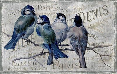 Chickadee Digital Art - Blue Birdies by Chanin Green