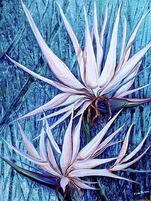 Strelitzia Painting - Blue Birds by Karin  Dawn Kelshall- Best