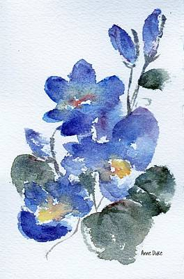 Print featuring the painting Blue Blooms by Anne Duke