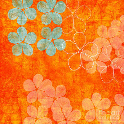 Nature Abstract Painting - Blue Blossom On Orange by Linda Woods